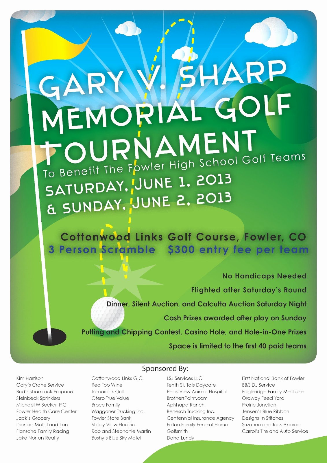 Gary V Sharp Memorial Golf tournament tournament Flyer