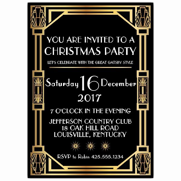 Gatsby Classic Deco Christmas Party Invitations