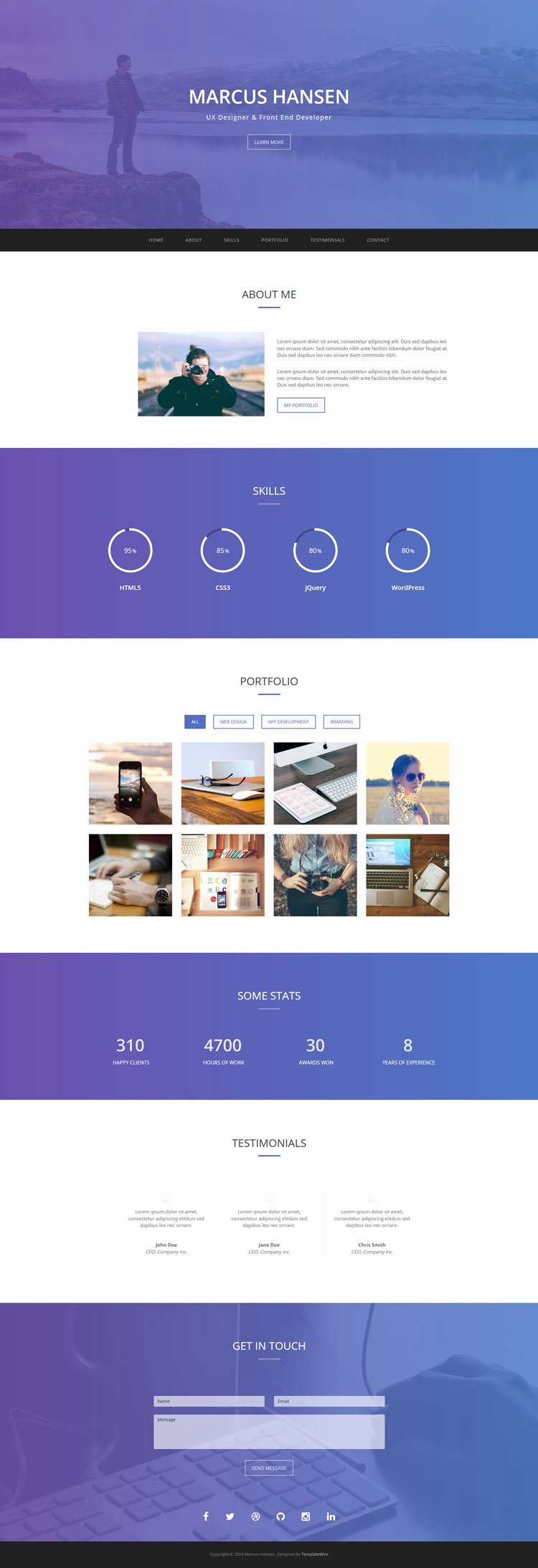 Geek Personal Portfolio Template Bootstrap Templates