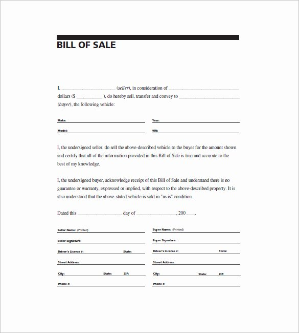 General Bill Of Sale – 14 Free Word Excel Pdf format