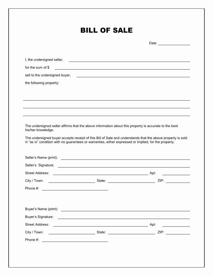 General Bill Sale form and Template for Selling