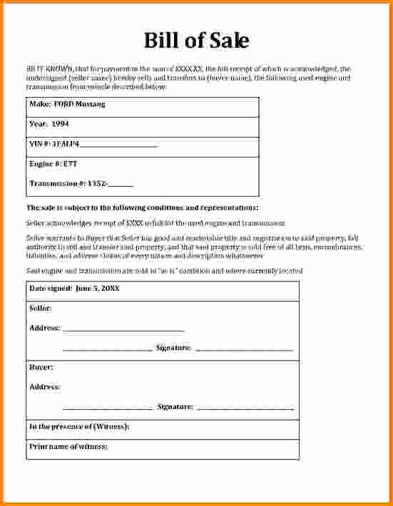 General Bill Sale form