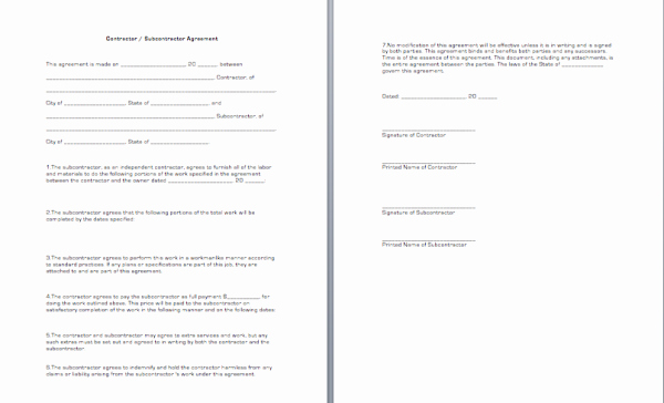 General Contractor Sub Agreement