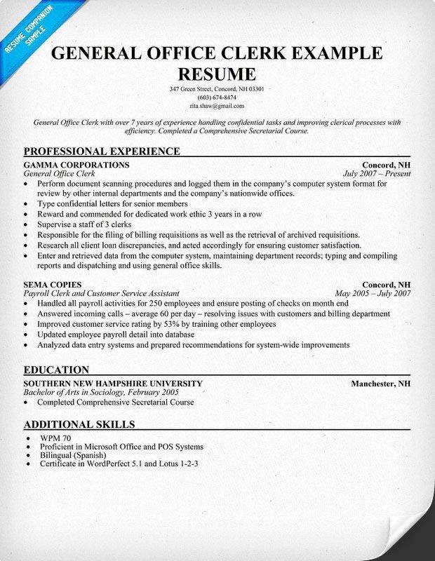 General Fice Clerk Resume Resume Panion