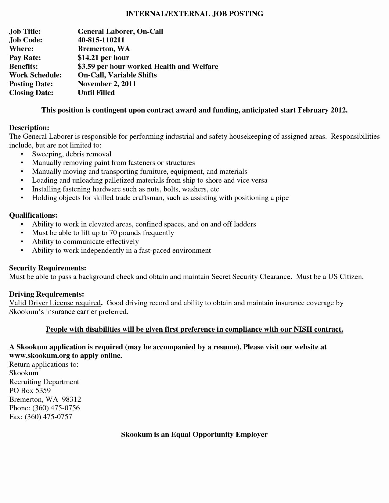 General Job Summary for Resume