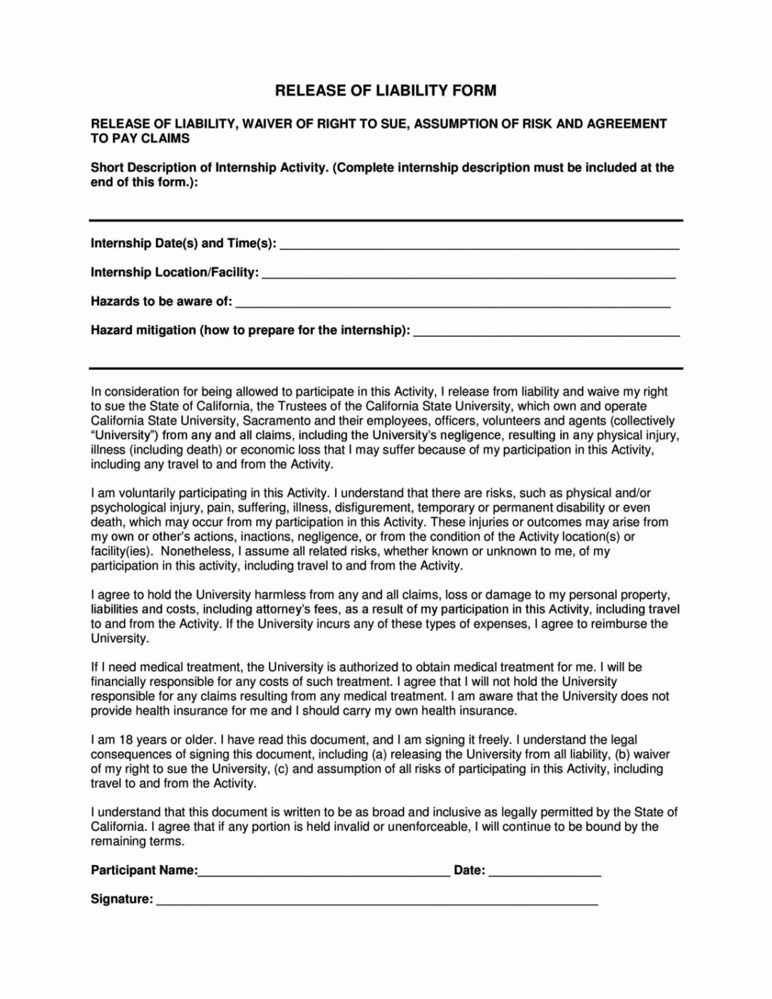 General Liability Release form Template Sampletemplatess