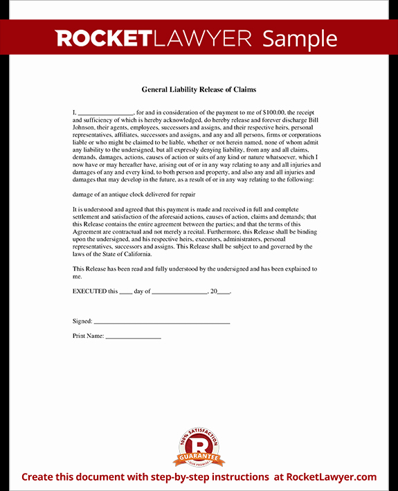 General Liability Release Of Claims form