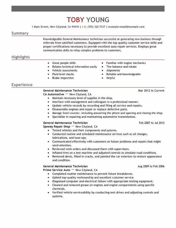 General Maintenance Technician Resume Examples – Free to