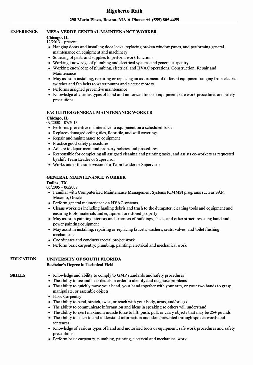 general maintenance worker resume sample