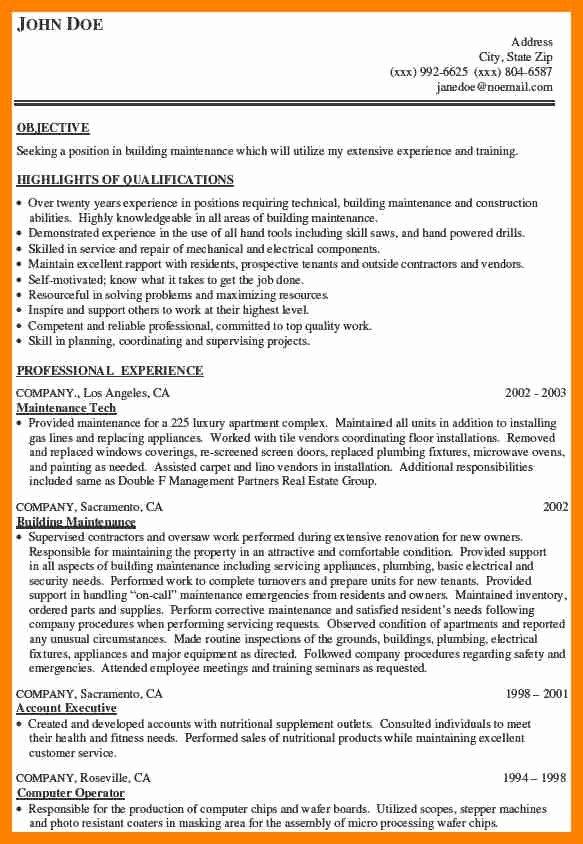General Maintenance Worker Resume
