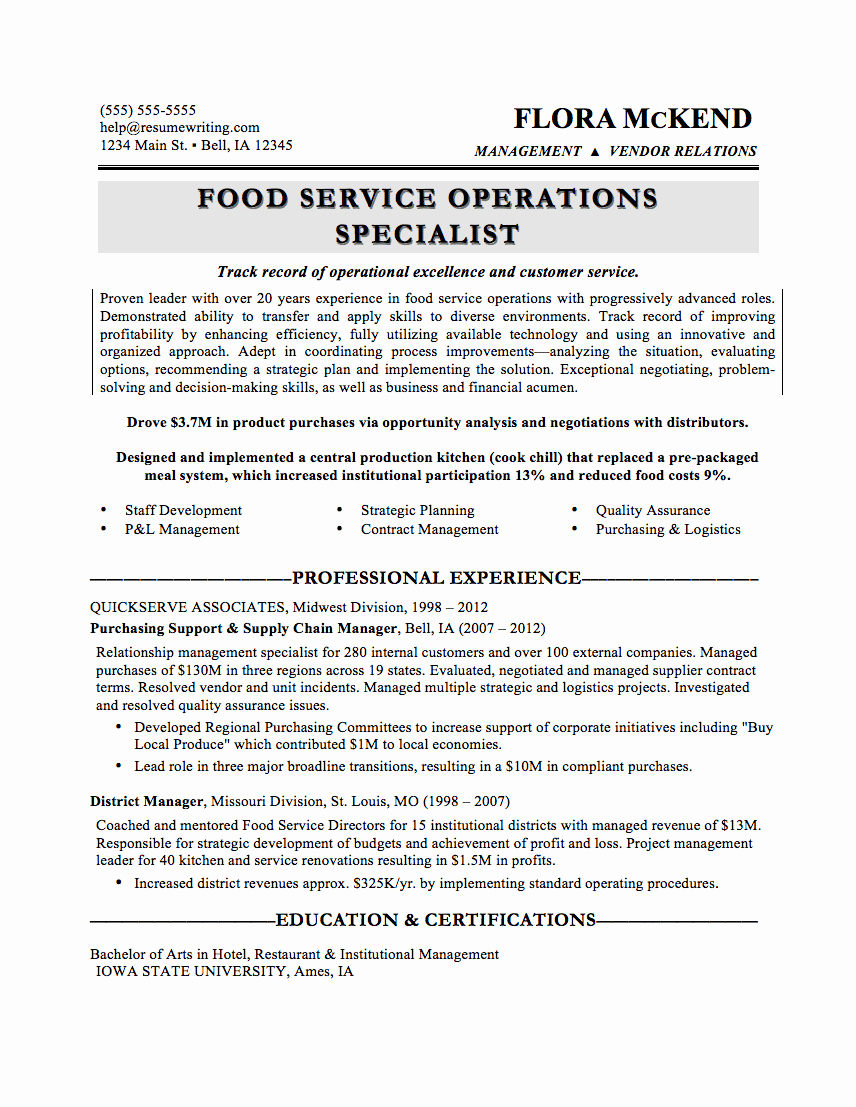 General Manager Resume Food Service – Perfect Resume format ...