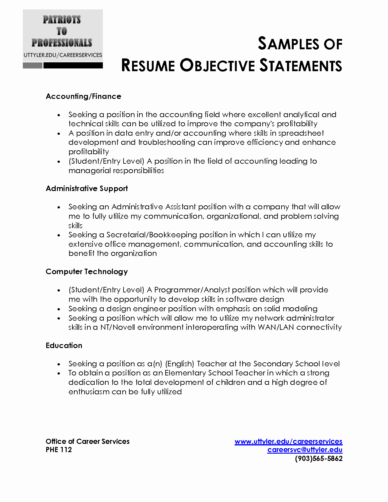 General Objective Statement for Resume Resume Ideas