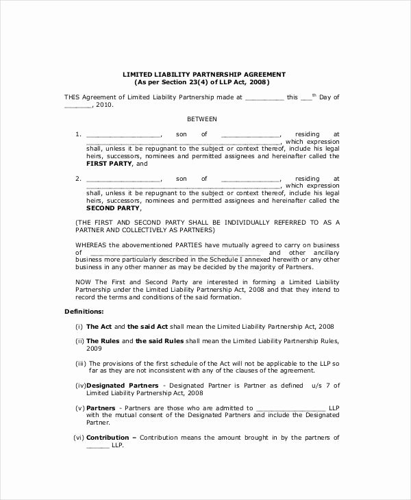 General Partnership Agreement 9 Free Pdf Word