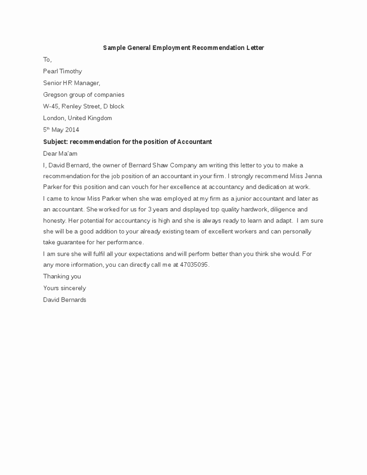 General Re Mendation Letter Sample Best Template