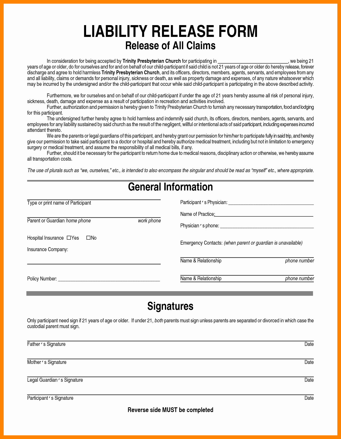 General Release forms Portablegasgrillweber