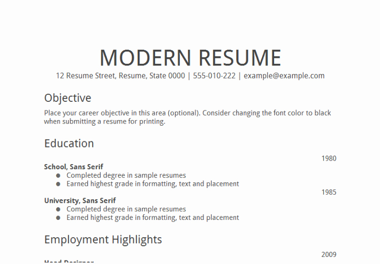 General Resume for Any Job Sample
