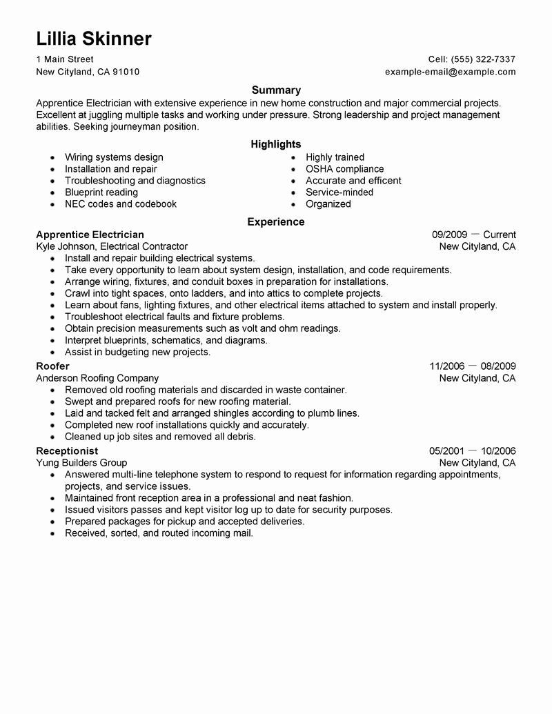 General Resume Summary Example