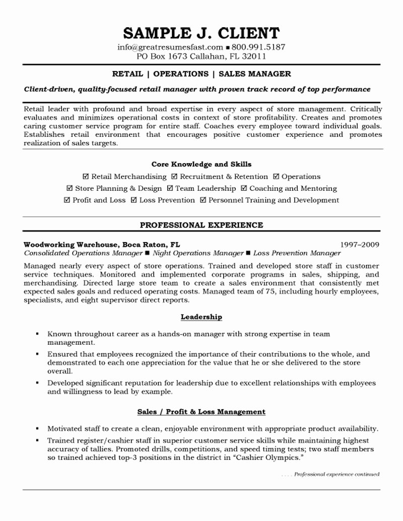 General Retail Resume Sample Samplebusinessresume