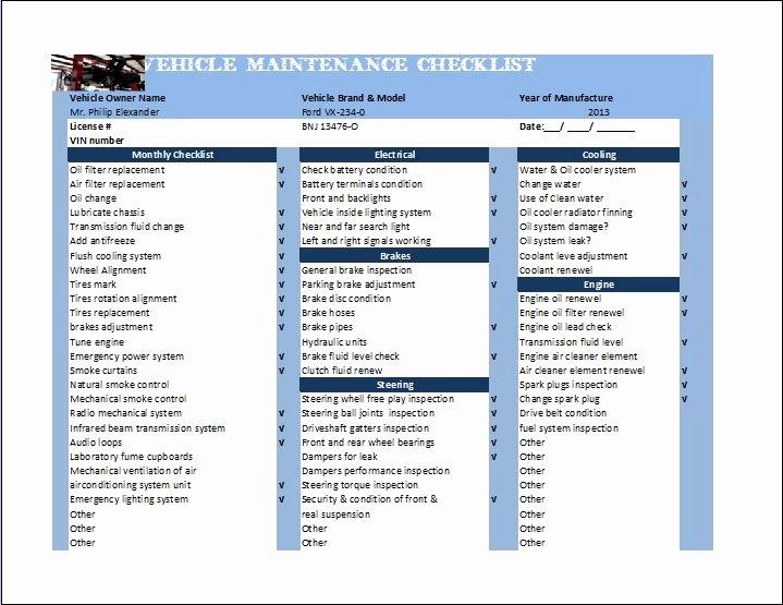 General Vehicle Maintenance Checklist Template