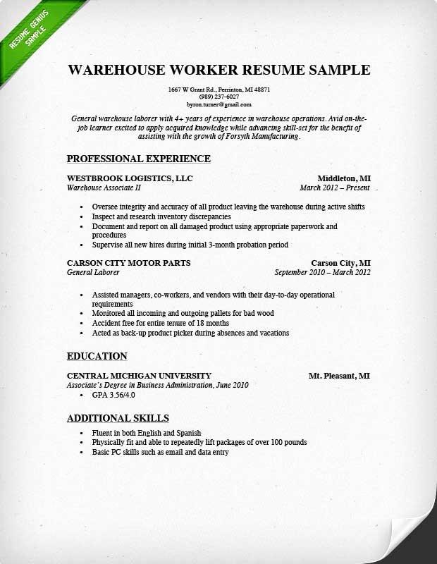 General Warehouse Worker Resume Sample