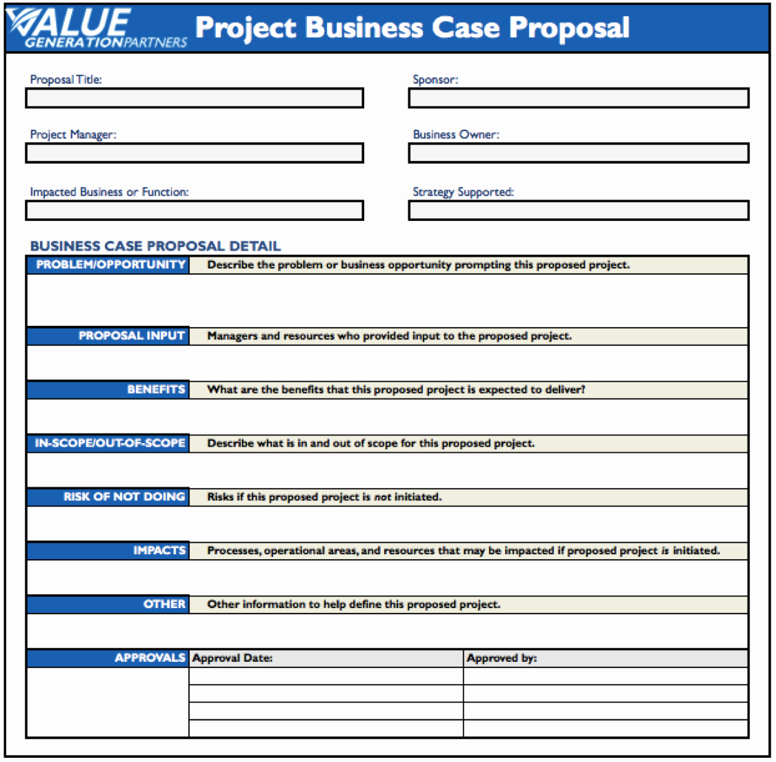 Generating Value by Using A Project Business Case Proposal