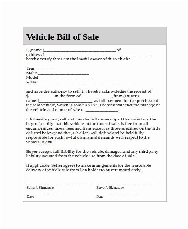 Generic Bill Of Sale Template 12 Free Word Pdf