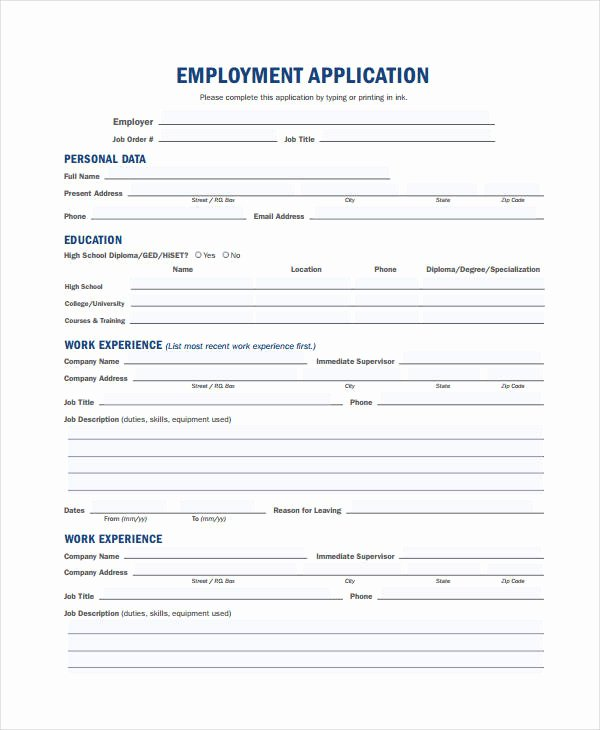 Generic Employment Application Template 8 Free Pdf