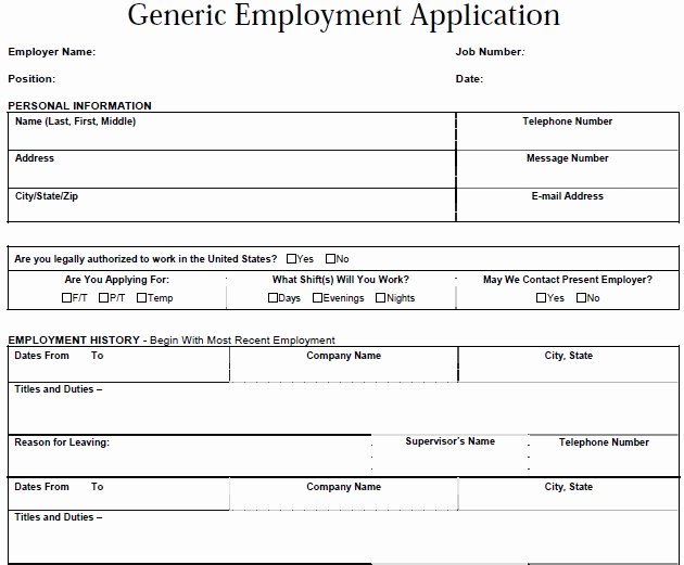 Generic Job Application Template