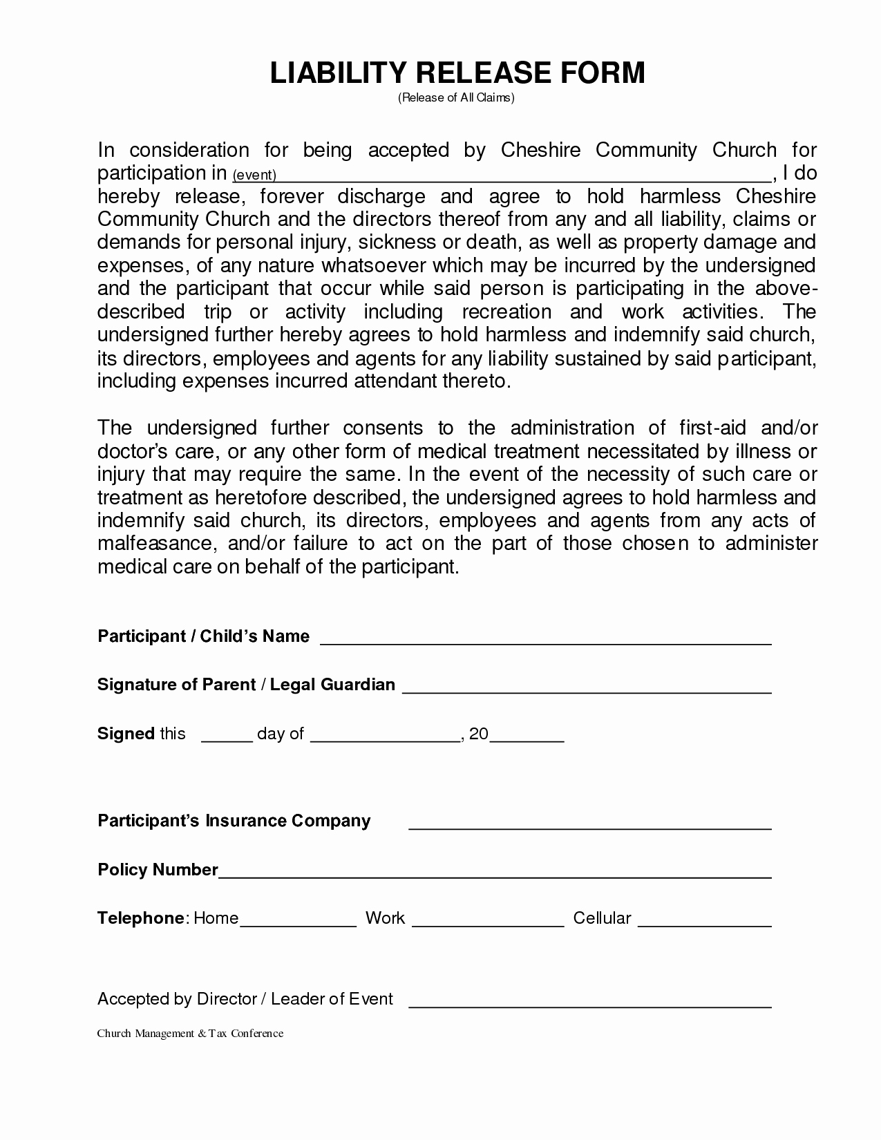 Generic Liability Waiver and Release form