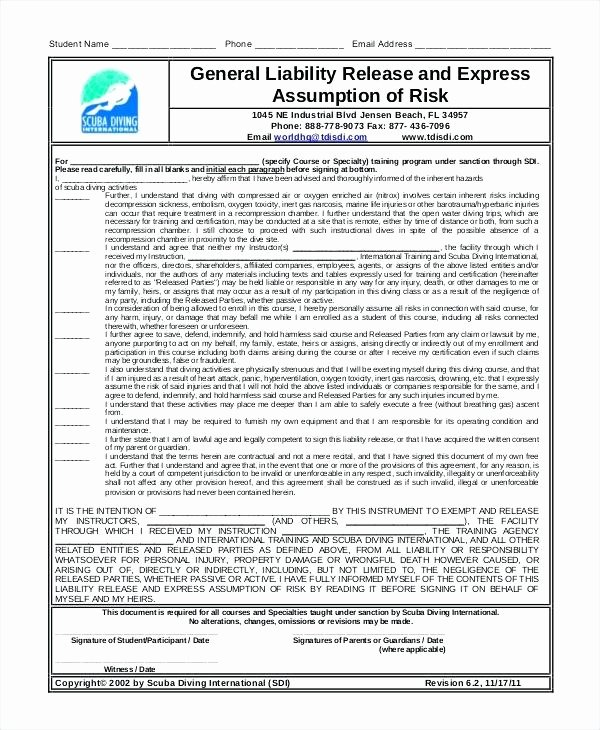 Generic Liability Waiver Template Yoga Waiver Template Doc