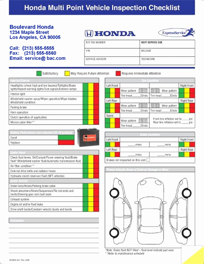 Generic Multi Point Vehicle Inspection forms