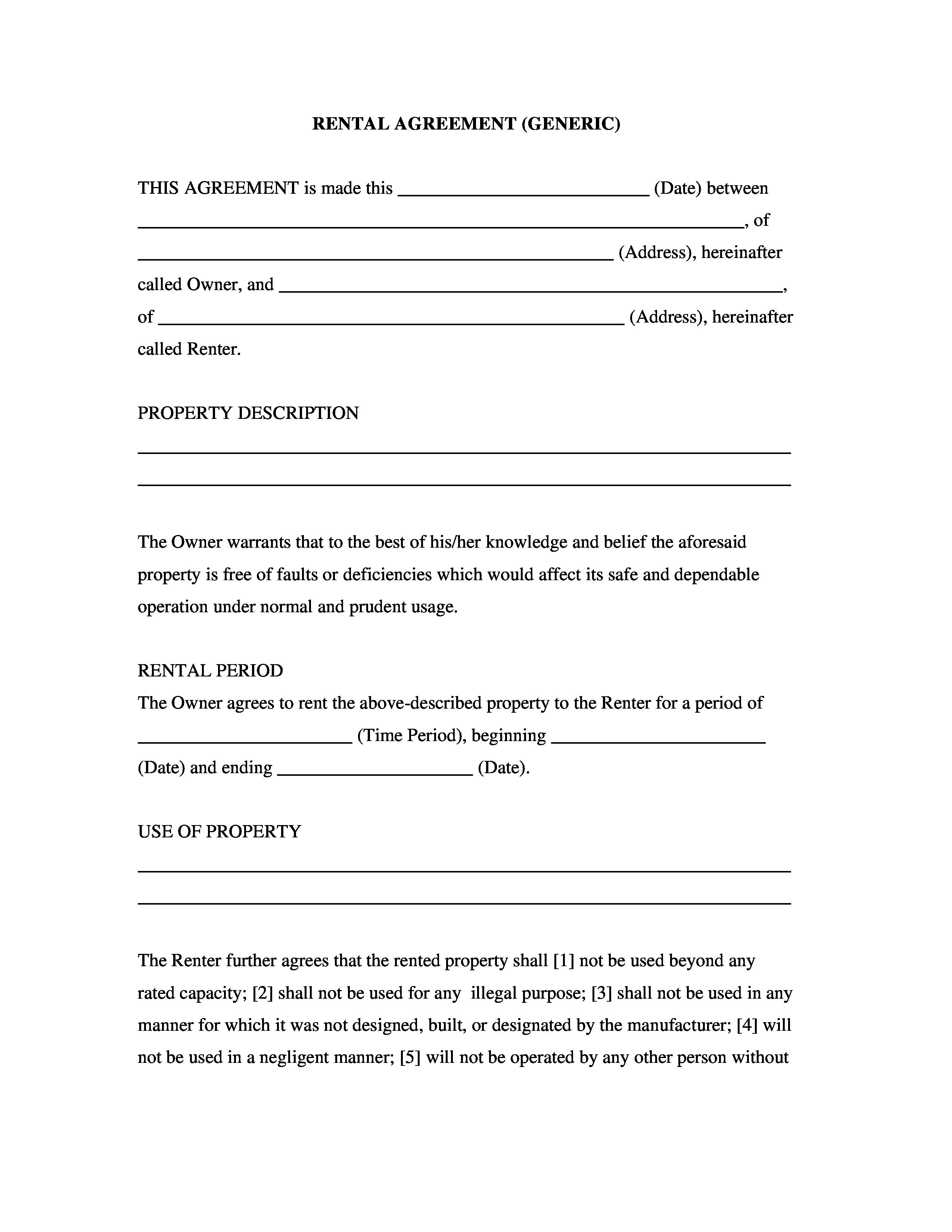 Generic Rental Contract Portablegasgrillweber