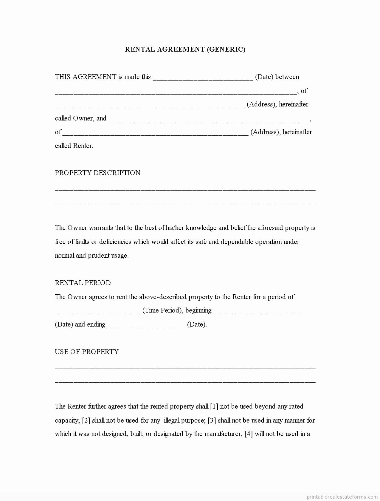 Generic Template Rental Agreement forms Free Printable