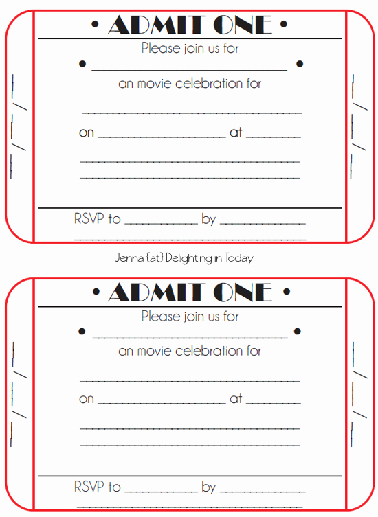 Generic Ticket Template Free Clipart
