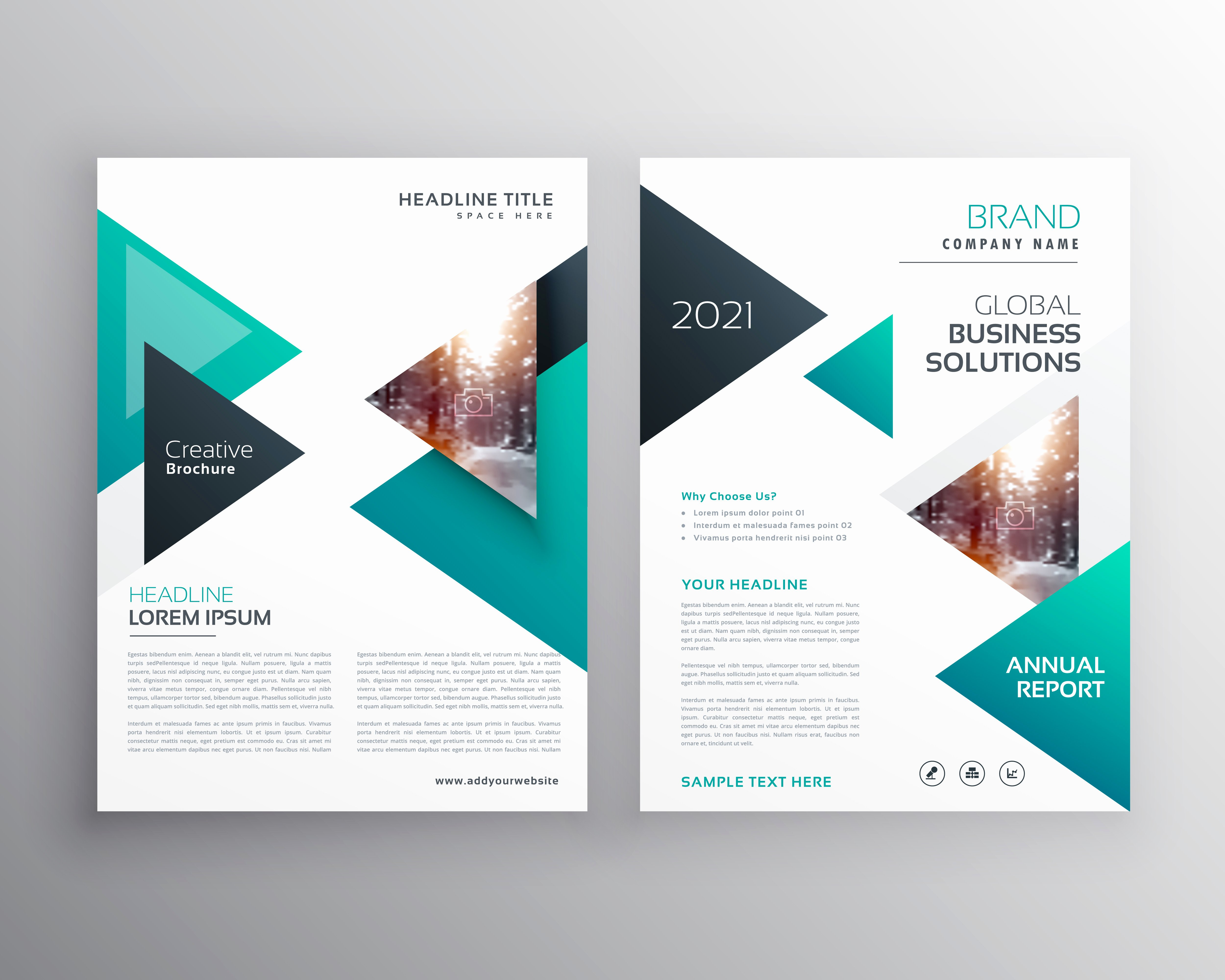 Geoemtric Triangles Business Flyer Brochure Vector