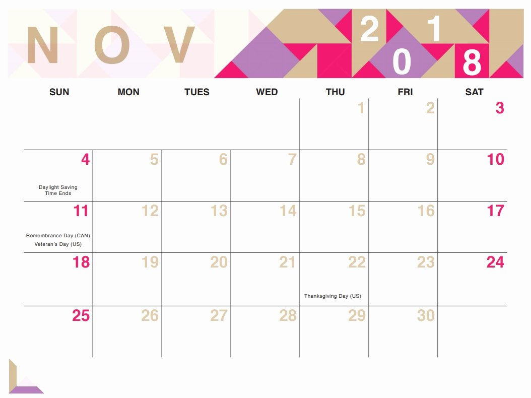 Geometric Free Printable 2018 Calendar