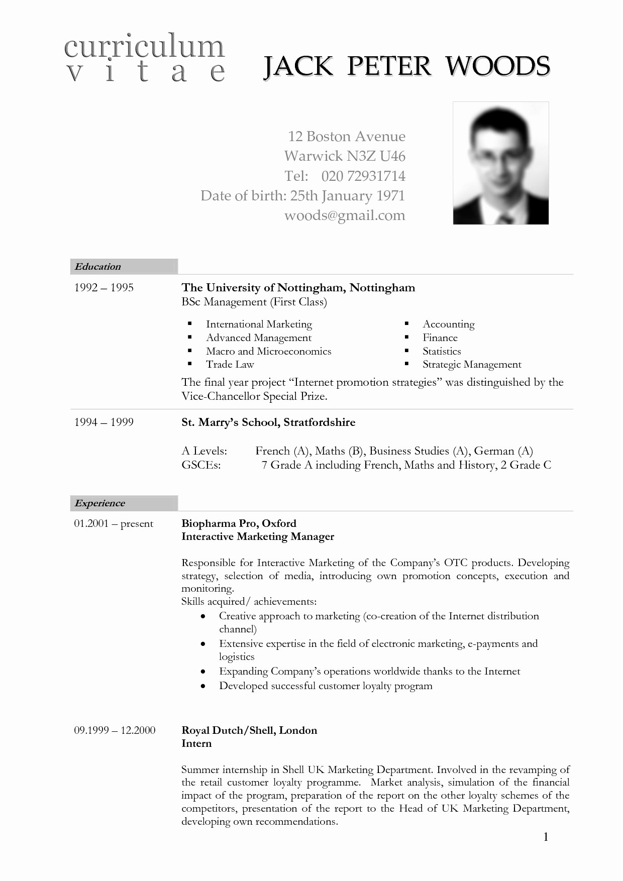 German Cv Template Doc