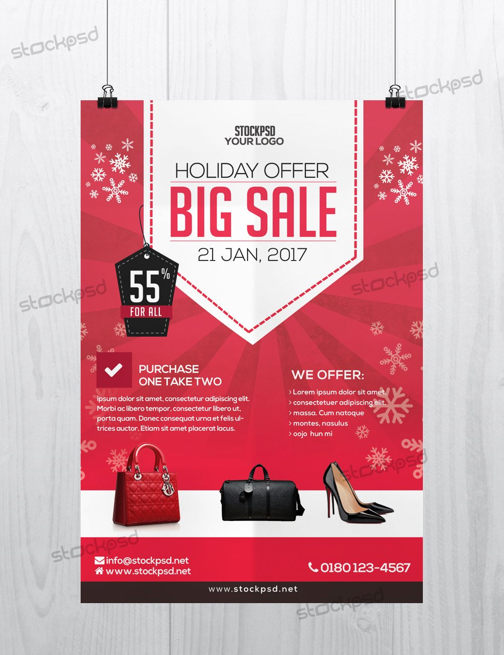 Get Free Holiday 2017 Big Sale Shop Flyer Template