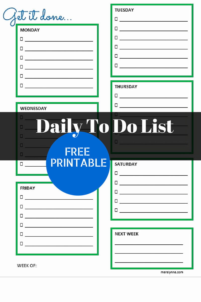 Get It Done Daily to Do List and Free Printable