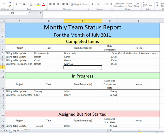 Get Project Status Report Template Excel Microsoft Excel