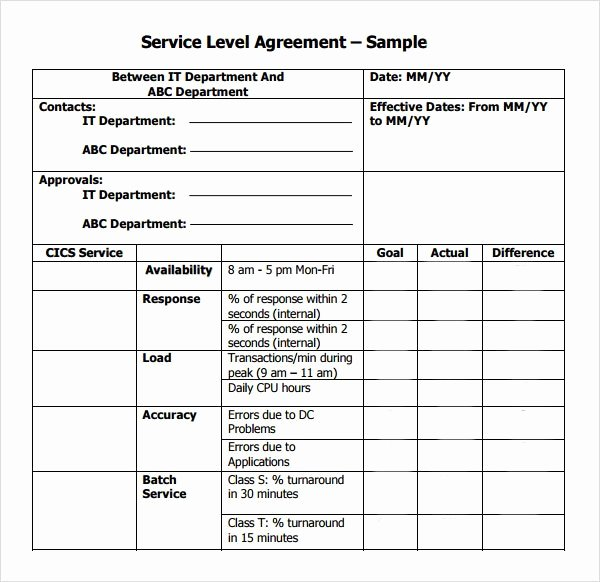 Get Service Level Agreement Template
