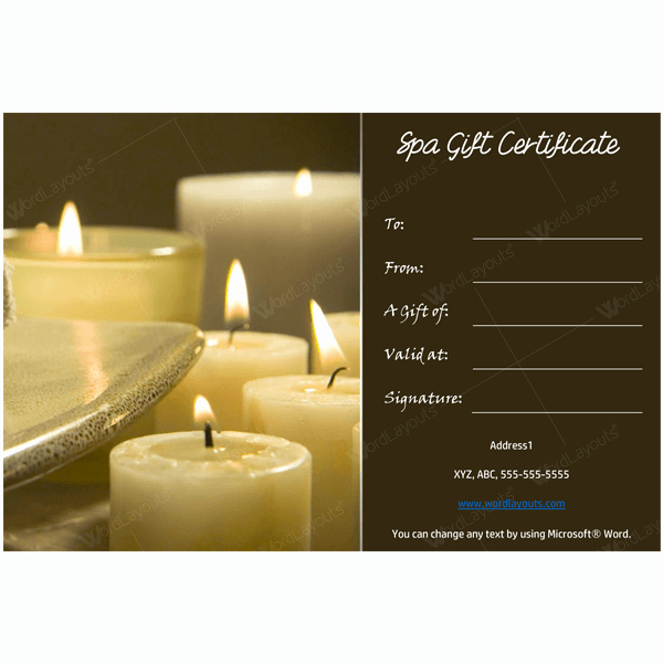 Gift Certificate 19 Word Layouts