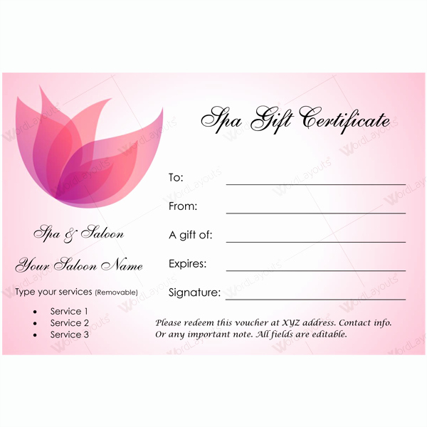Gift Certificate 23 Word Layouts