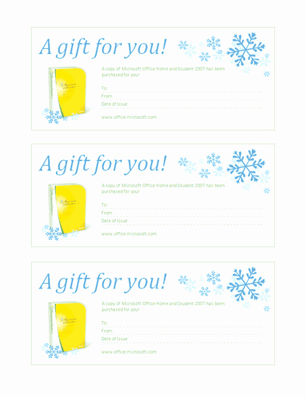 Gift Certificate for Microsoft Fice Home and Student