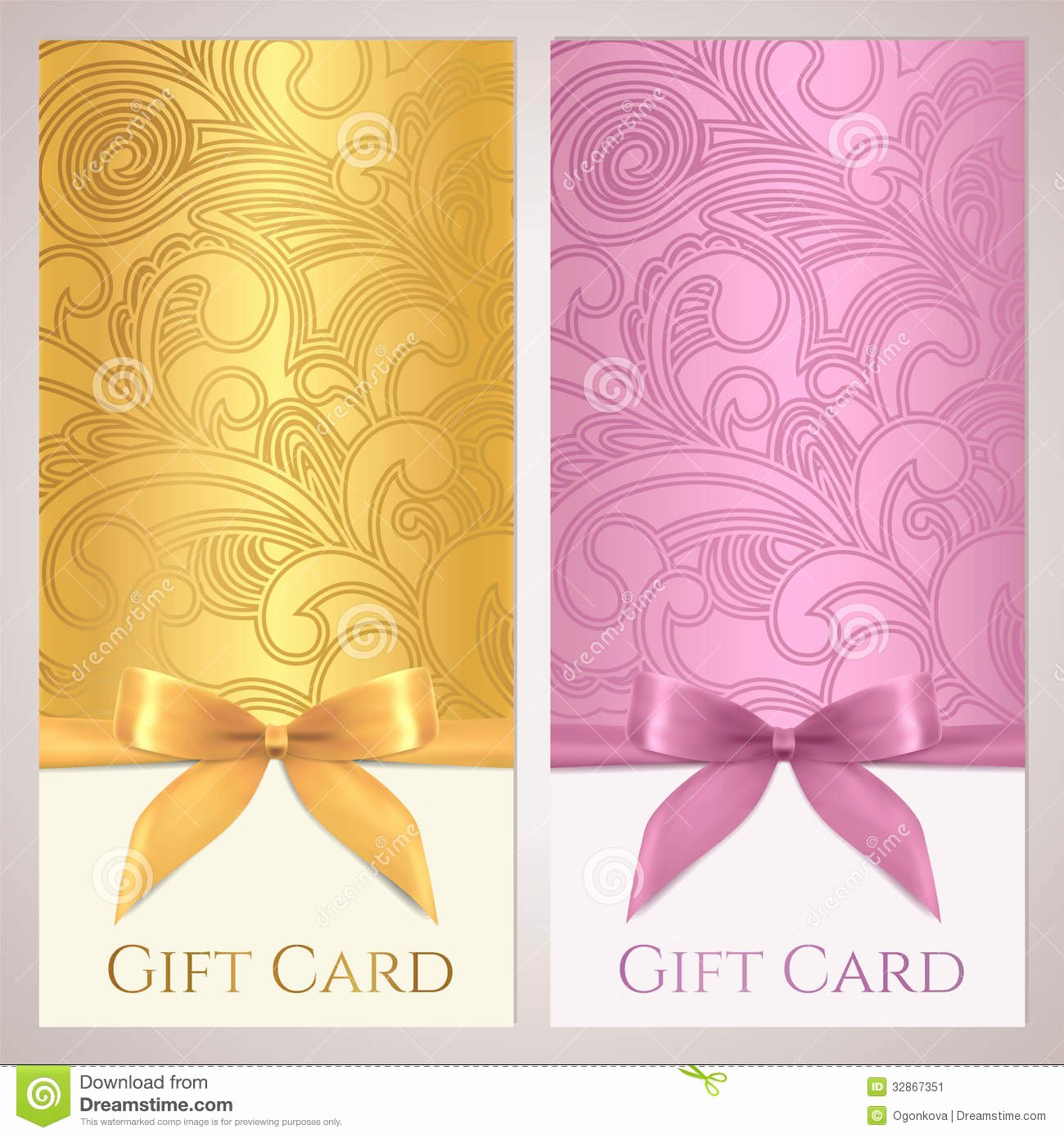 Gift Certificate Gift Card Coupon Template Stock