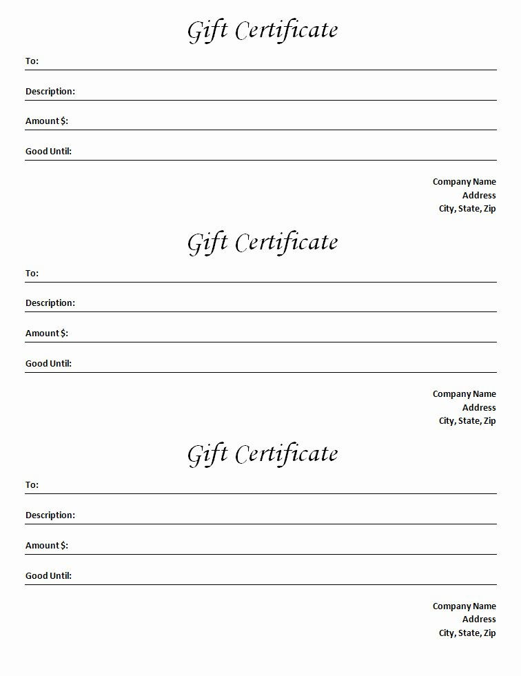 Gift Certificate Template Blank Microsoft Word Document