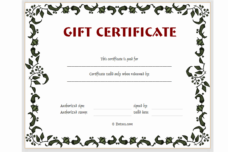 Gift Certificate Template Floral Design Dotxes