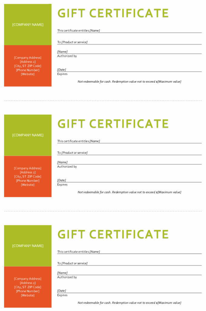 Gift Certificate Template Sample Gift Certificate