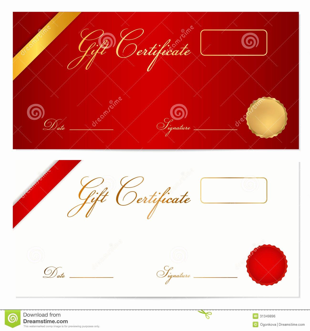 Gift Certificate Voucher Template Wax Seal Stock Vector