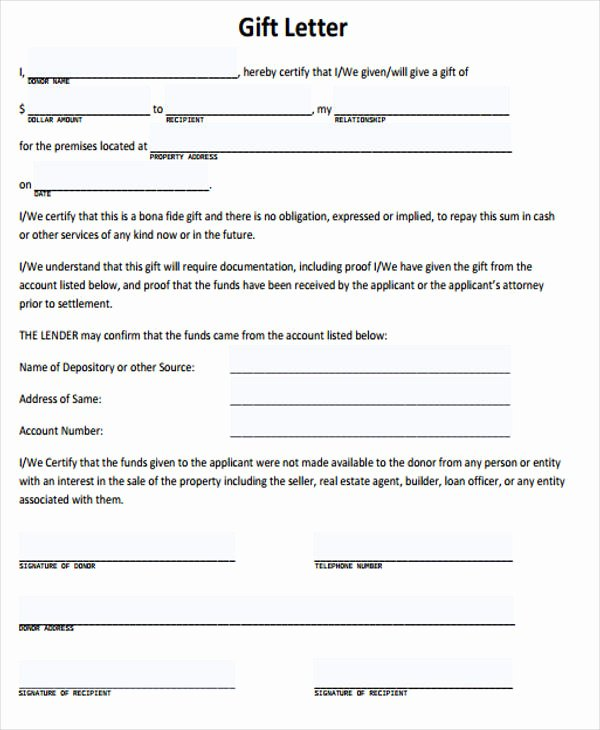 Gift Letter Templates 8 Free Word Pdf format Download